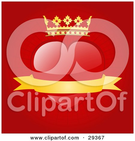Clipart Illustration of a Red Heart With A Crown And A Blank Gold Banner Of A Red Background by elaineitalia