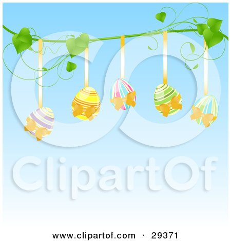 Clipart Illustration of Five Colorful Easter Eggs Hanging From Golden Ribbons On A Green Vine, Over A Blue Background by elaineitalia