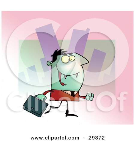Green Vampire With Fangs, Dressed In A Suit And Carrying A Briefcase To An Office Posters, Art Prints
