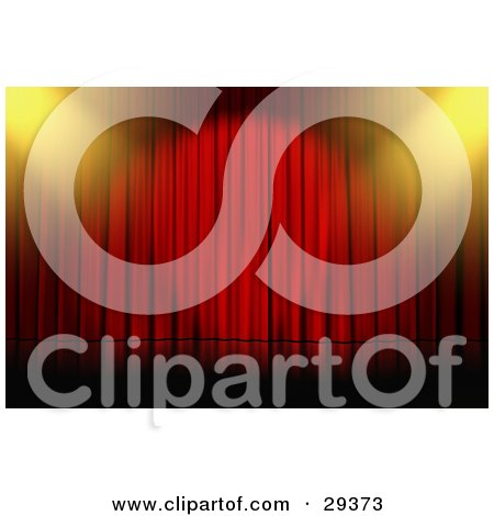 Clipart Illustration of Yellow Spotlights Shining Down Onto An Empty Stage With Closed Red Curtains by Frog974