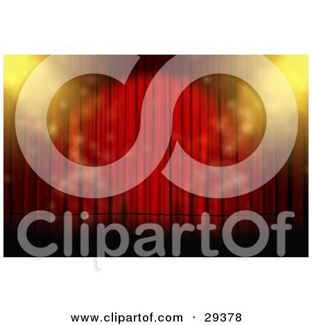Clipart Illustration of Yellow Spotlights Sparkling On An Empty Stage With Closed Red Curtains by Frog974