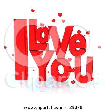 Bright Red I Love You Text With Little Hearts On A Reflective White Surface Posters, Art Prints