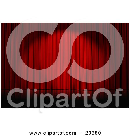 Clipart Illustration of a Spotlight Cast On Closed Red Curtains On An Empty Stage by Frog974