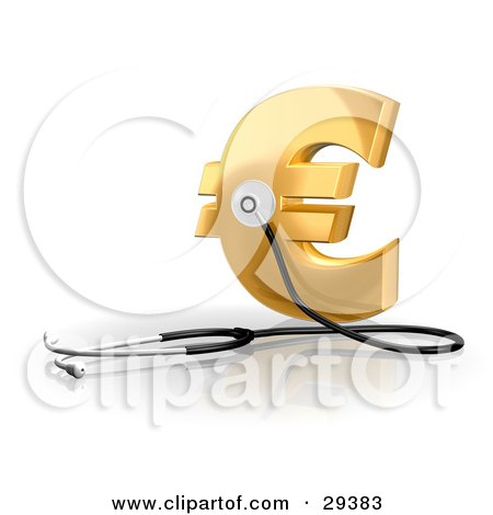 Clipart Illustration of a Stethoscope Up Against A Golden Euro Sign, Symbolizing Economy, Debt And Savings by Frog974