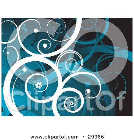 Background Of White And Blue Curling Vines With Little Flowers Posters, Art Prints
