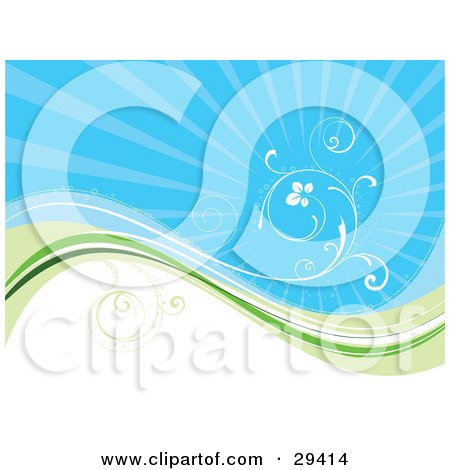Clipart Illustration of a White Vine Curling Above A Wave Of Blue, Green And White Over A Bursting Blue Background by KJ Pargeter