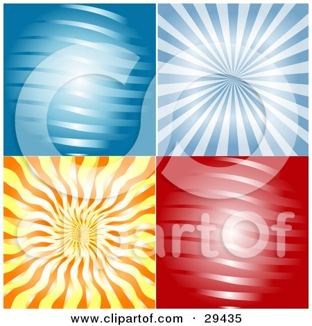 Clipart Illustration of a Set Of Four Blue, Red And Orange Abstract Backgrounds Of Waves And Rays Of Light by KJ Pargeter