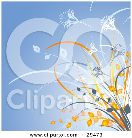 Clipart Illustration of a Cluster Of Orange Leaves And Blue And White Plants And Flowers Over A Blue Background by KJ Pargeter