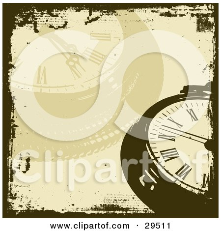 Clipart Illustration of a Brown And Faded Pocket Watch Background Bordered By Grunge by KJ Pargeter