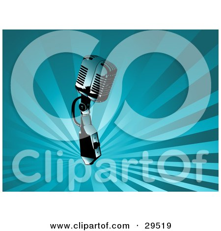 Clipart Illustration of a Chrome Retro Microphone Over A Background Of Rays Of Blue Light by KJ Pargeter