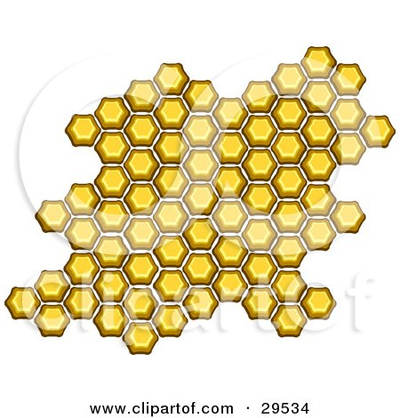 Clipart Illustration of a Cluster Of Honeycomb Hexagons On A White Background by KJ Pargeter
