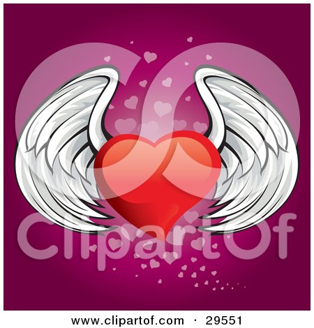 Clipart Illustration of a Winged Red Heart Flying Over A Gradient Pink Background Of Faded Small Hearts by Paulo Resende
