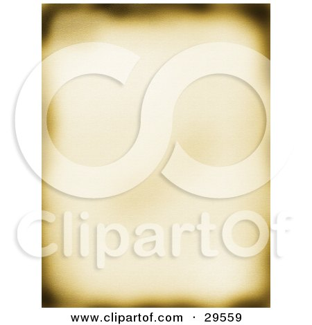 Clipart Illustration of a Blurred Old Piece Of Parchment Paper With Burnt Edges by KJ Pargeter