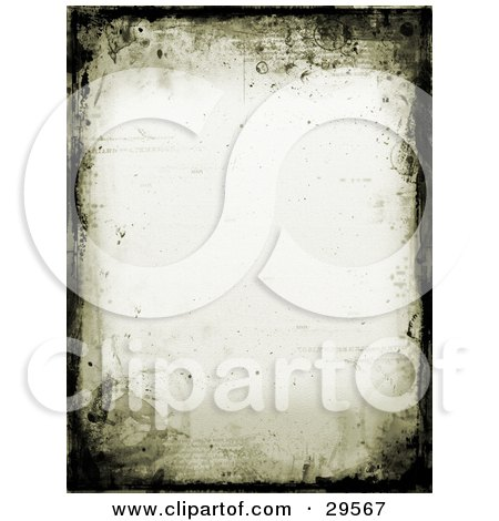 Clipart Illustration of a Border Of Black Grunge And Watermarks On An Off White Stationery Background by KJ Pargeter