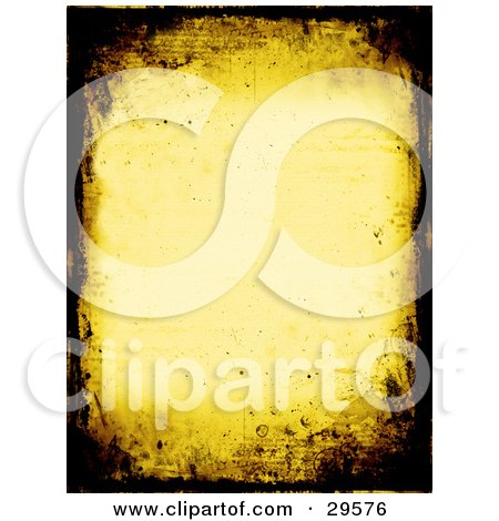 Clipart Illustration of a Yellow Stationery Background Bordered With Dark Brown Grunge Textures by KJ Pargeter