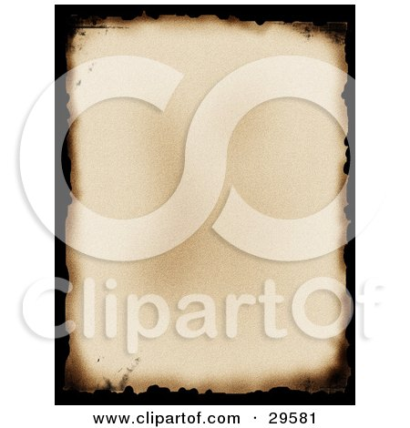 Clipart Illustration of an Old Piece Of Parchment Paper With Black Burnt Edges by KJ Pargeter