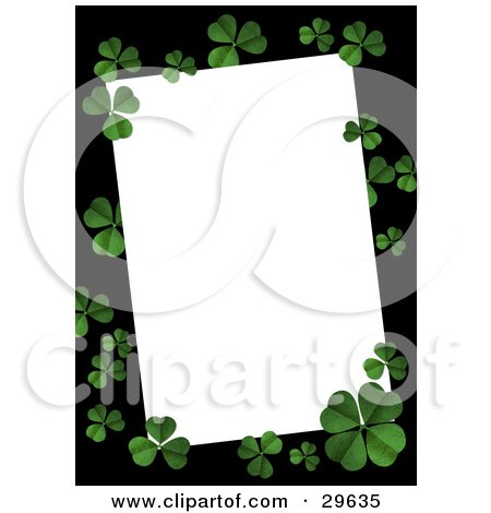 Clipart Illustration of a Textured Green Four Leaf Clovers On A Black Border Over White Space, Great For Stationery by suzib_100
