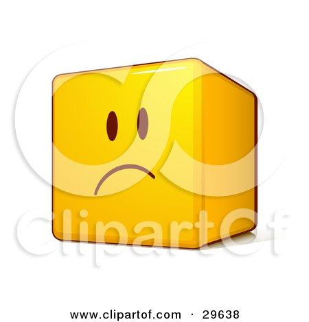 Clipart Illustration of a Sad Yellow Smiley Face Emoticon Cube With Pouting And Frowning by beboy
