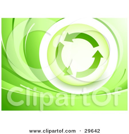 Clipart Illustration of a Green Background Of Waves Around An Orb With Three Circling Recycle Arrows by beboy