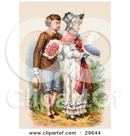 Clipart Illustration of a Vintage Victorian Scene Of A Boy Carrying Flowers And Walking Behind A Girl As She Reads A Love Letter, Circa 1886 by OldPixels