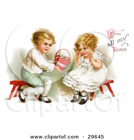 """Clipart Illustration of a Vintage Victorian Scene Of A Sweet Little Boy Sitting On A Red Stool, Holding Out A Basket Of Candy To A Girl And """"With All My Love"""" Text, By Ellen H. Clapsaddle, Circa 1912 by OldPixels"""