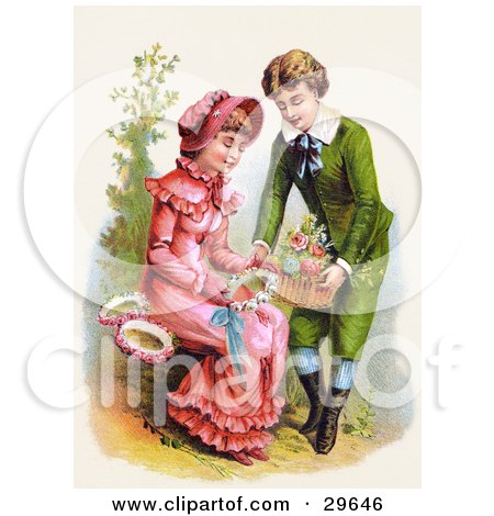 Clipart Illustration of a Vintage Victorian Scene Of A Sweet Young Boy Giving A Girl A Basket Of Flowers For Her To Make Wreaths With, Circa 1886 by OldPixels