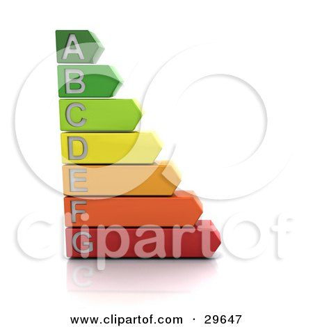Clipart Illustration of a Green, Yellow, Orange And Red Energy Rating Graph On A White Background by KJ Pargeter