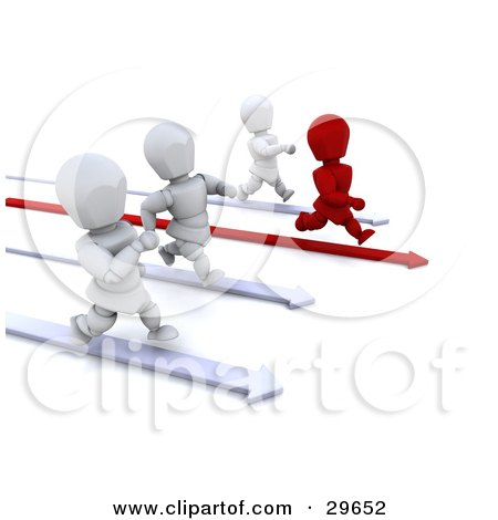 Clipart Illustration of a Red Character Running On An Arrow, Leading The Way And Racing Against White Characters by KJ Pargeter