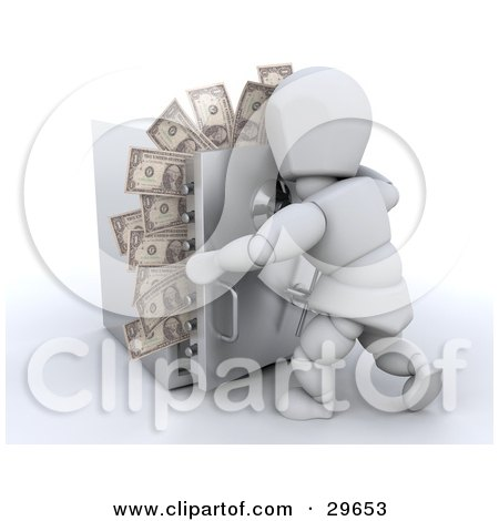 Clipart Illustration of a White Character Trying To Close The Door To A Safe With Money Sticking Out by KJ Pargeter