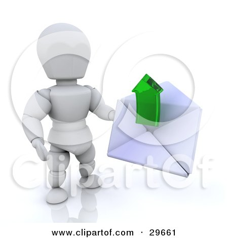 Clipart Illustration of a White Character Holding A White Envelope With A Green Arrow Emerging by KJ Pargeter