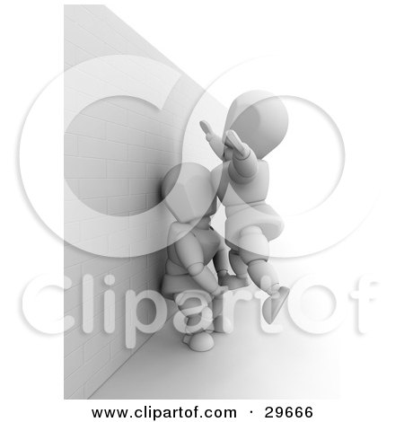 Clipart Illustration of a White Character Leaning Against A Wall And Assisting Another Up Over The Obstacle by KJ Pargeter