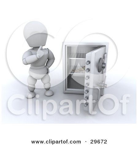 Clipart Illustration of a White Character Wondering What To Do While Looking At The Last Banknote In A Personal Safe by KJ Pargeter