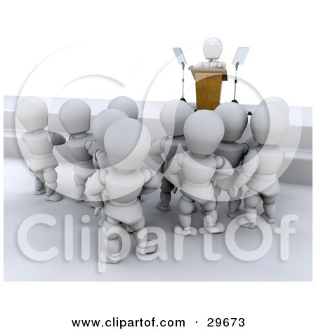 Clipart Illustration of a Group Of White Characters Standing And Listening To A Politician Give A Speech by KJ Pargeter