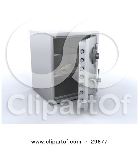 Clipart Illustration of a Single Banknote Inside An Open Personal Safe by KJ Pargeter