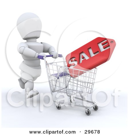 Clipart Illustration of a White Character Running And Pushing A Sale Plaque In A Shopping Cart by KJ Pargeter
