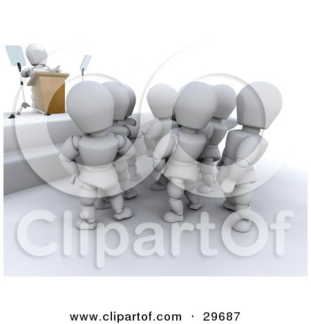 Clipart Illustration of a White Character Giving A Speech To A Crowd by KJ Pargeter