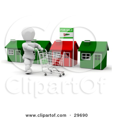 Clipart Illustration of a White Character Pushing A Cart While Shopping Along A Row Of Homes by KJ Pargeter