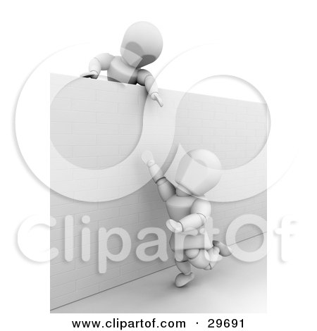 Clipart Illustration of a White Character Holding His Arm Over A Wall, Assisting Another Person Over by KJ Pargeter