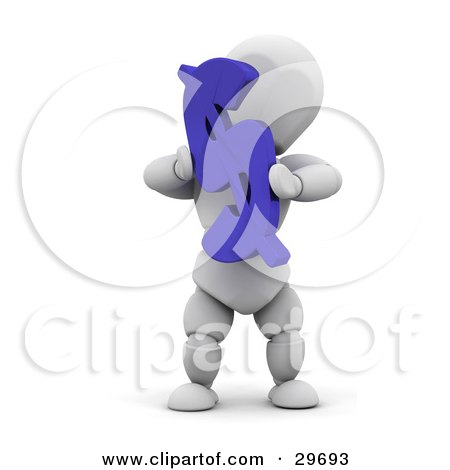 Clipart Illustration of a White Character Holding Up A Blue Dollar Bill by KJ Pargeter