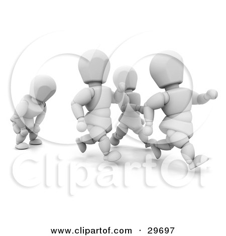 Clipart Illustration of a Tired White Character Catching His Breath While Running Behind Others by KJ Pargeter