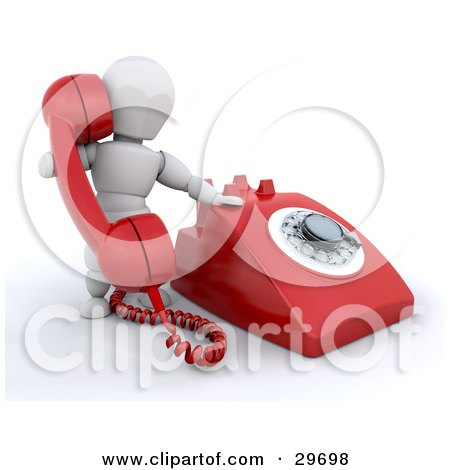 Clipart Illustration of a White Character Holding Up A Red Landline Telephone Receiver While Making A Call by KJ Pargeter