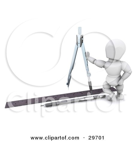 Clipart Illustration of a White Character Architect Leaning Against A Compass, A Pen And Ruler On The Ground by KJ Pargeter