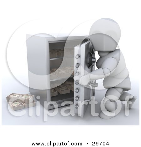 White Character Opening Or Closing A Personal Safe To Make A Withdrawal Or Deposit Posters, Art Prints