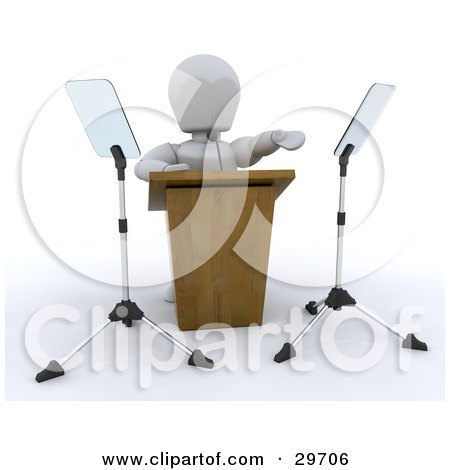 Clipart Illustration of a White Character Gesturing While Giving A Speech Behind A Podium by KJ Pargeter