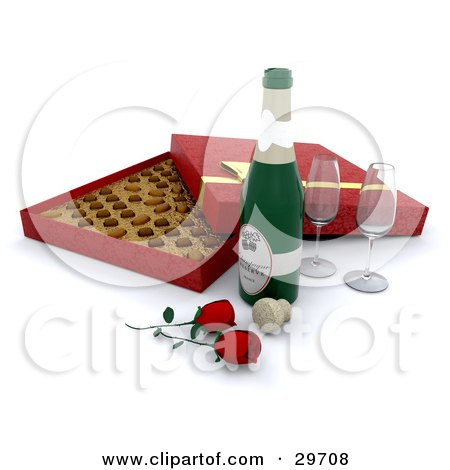 Clipart Illustration of Two Wine Glasses, Red Roses, A Cork, And Bottle Of Champagne In Front Of An Open Box Of Valentine's Day Chocolates by KJ Pargeter