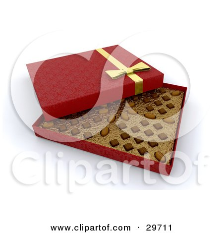 Clipart Illustration of an Open Red Box Of Valentine's Day Chocolates by KJ Pargeter