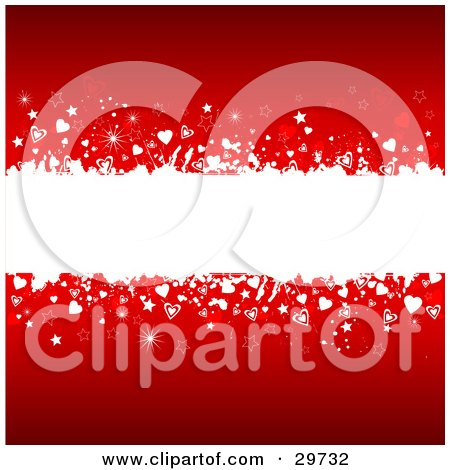 Clipart Illustration of a White Grunge Text Bar Spanning The Center Of A Red Background With White And Red Stars, Hearts And Sparkles by KJ Pargeter