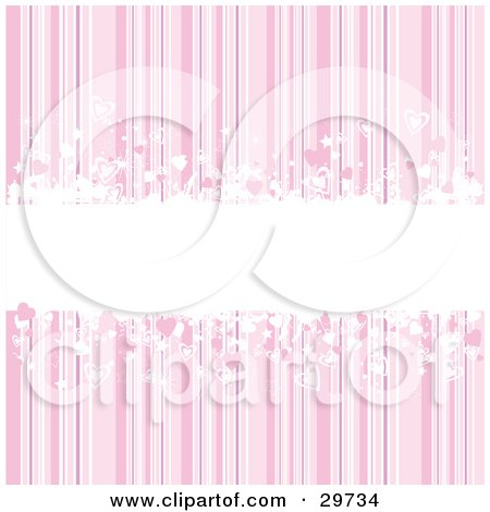 Clipart Illustration of a White Grunge Text Bar In The Center Of A Pink Striped Background With Pink And White Hearts by KJ Pargeter