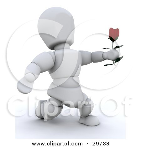 Clipart Illustration of a White Character Kneeling And Holding A Single Red Rose While Proposing by KJ Pargeter