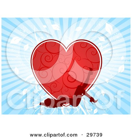 Clipart Illustration of a Sexy Red Silhouetted Woman Laying On Her Back And Kicking One Leg Up, On A Blue Background With Vines And A Red Swirl Patterned Heart by KJ Pargeter